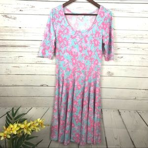 Lularoe Pink & Blue Floral Nicole Dress - W4
